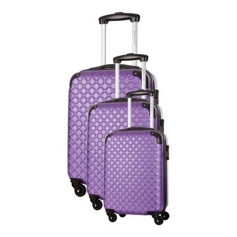 Platinium Purple Sifnos 4 Wheeled Set Of Three Suitcases 46/56/66cm