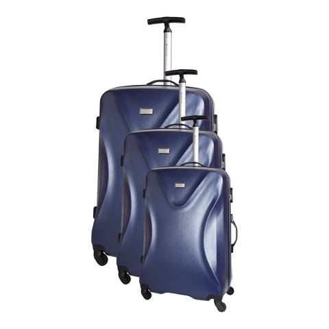 Platinium Marine Blue Solway 4 Wheeled Set Of Three Suitcases 50/60/70cm