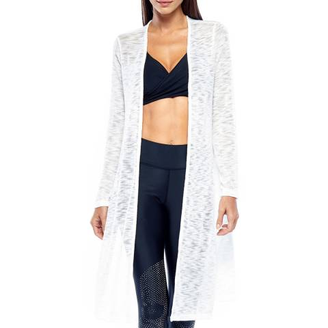 Electric Yoga White Knit Long Cardigan