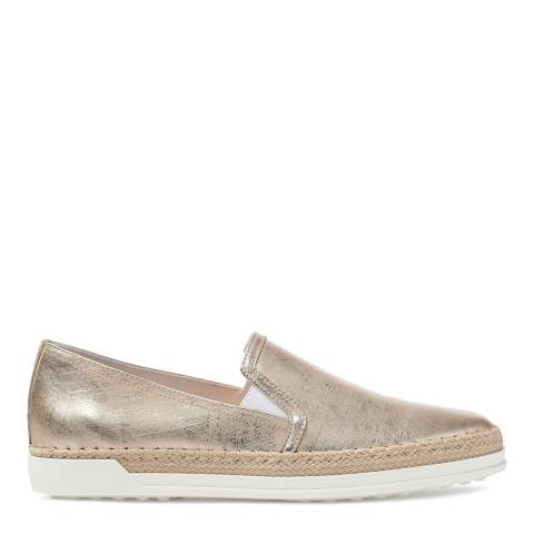 Tod's Women's Gold Distressed Leather Slip On Espadrille Sneakers
