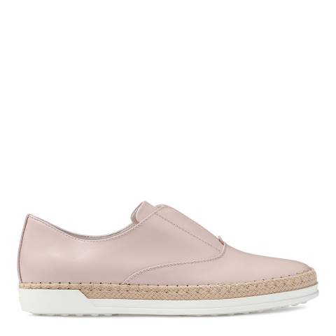 Tod's Women's Pink Leather Slip On Espadrille Sneakers