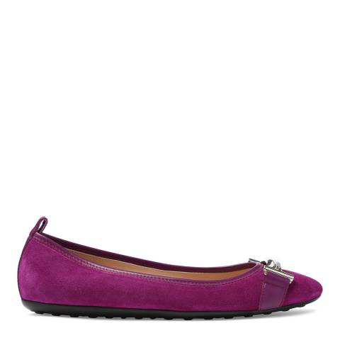 Tod's Women's Purple Rose Suede Ballerinas