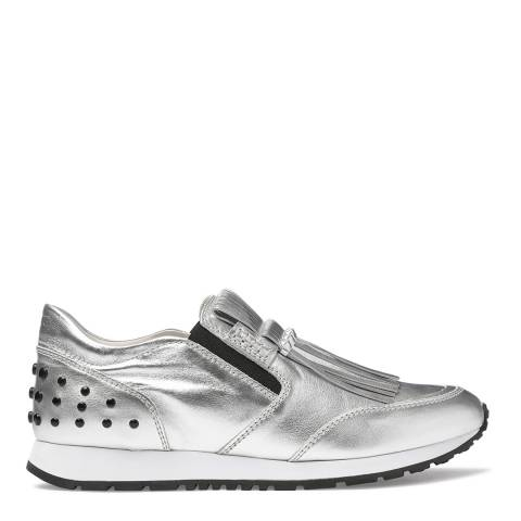 Tod's Women's Silver Leather Fringe Front Sneakers