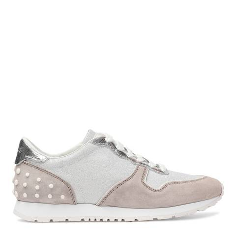 Tod's Women's Grey And Silver Suede Sneakers