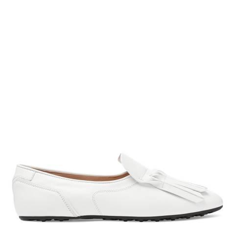Tod's Women's White Leather Fringe Front Flats