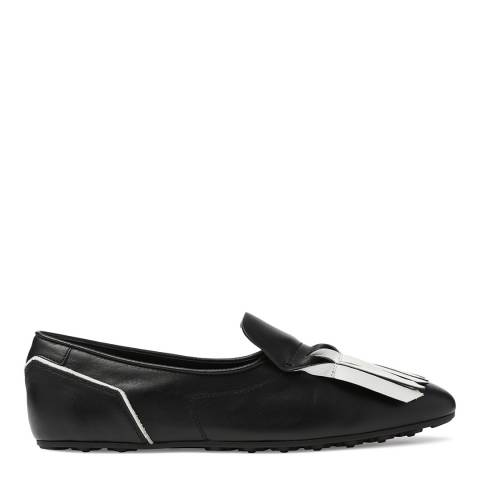 Tod's Women's Black Leather Fringe Front Flats