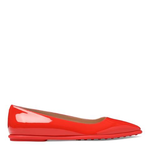 Tod's Women's Patnet Red Leather Ballerinas