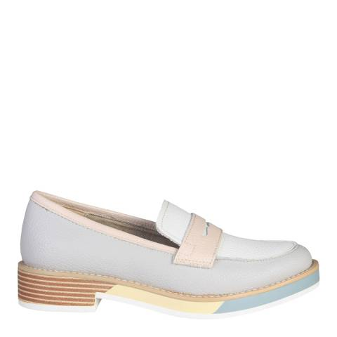 Ana Lublin Grey And Pink Leather Noemia Slip On Loafers