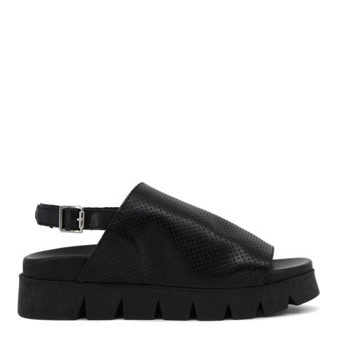 Ana Lublin Black Perforated Leather Alzira Sling Back Sandal