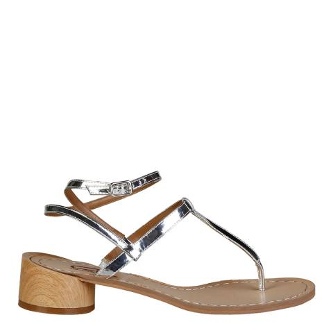 Ana Lublin Silver Leather Violetta Thong Sandal