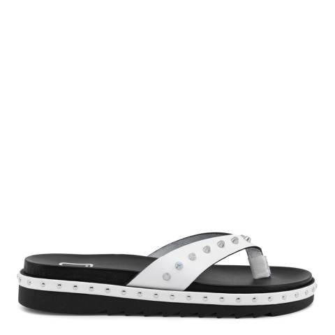 Ana Lublin White Leather Studded Janete Sandal
