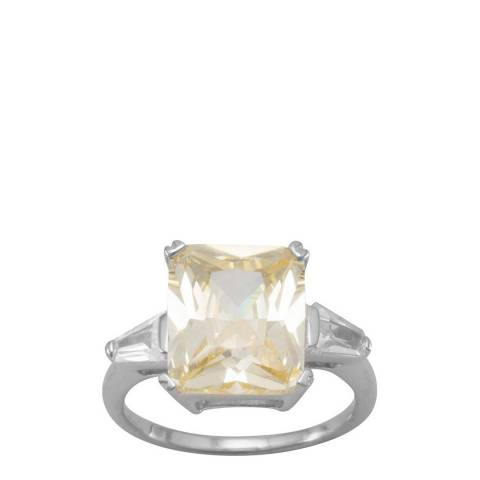 Black Label by Liv Oliver Silver/Yellow/Clear Emerald Cut Ring
