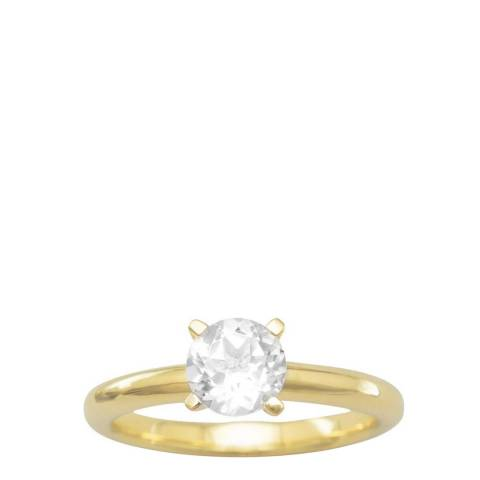 Black Label by Liv Oliver Gold/Clear Solitaire Ring
