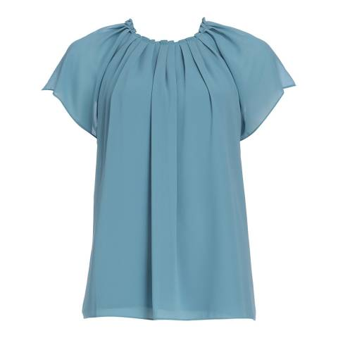 Reiss Blue Bondell Gathered Top