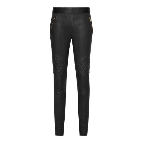Reiss Black Drift Leather Trousers