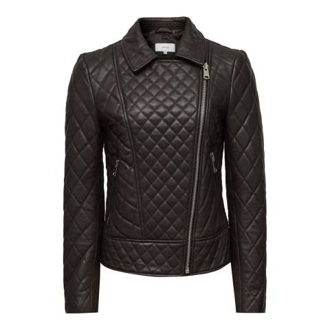 Reiss Chocolate Amie Leather Biker Jacket