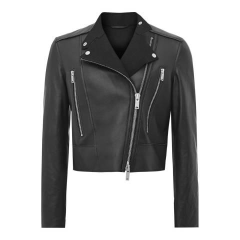 Reiss Black Phoebe Bonded Leather Jacket