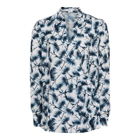 Reiss Blue Multi Carina Printed Blouse