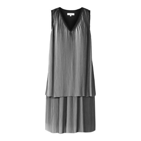 Reiss Black/White Nova Pleated Dress
