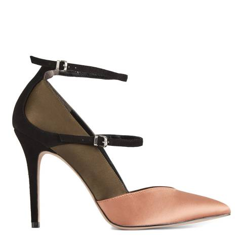 Reiss Khaki Athena Satin High Heels