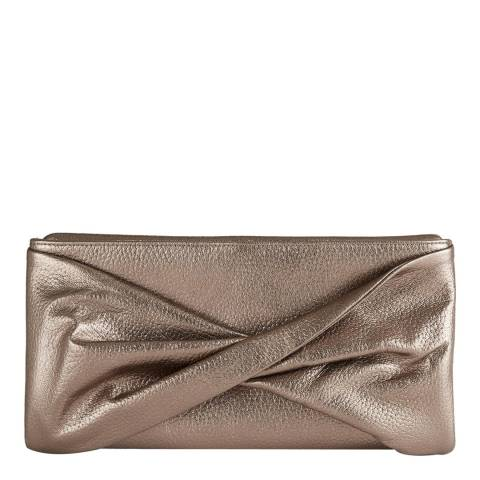Reiss Gold Beau Metallic Leather Clutch