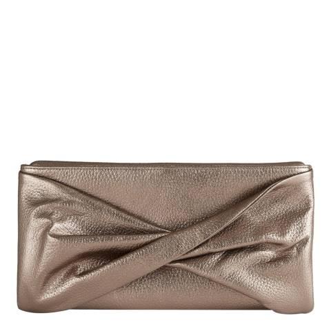Reiss Gold Metallic Leather Clutch Bag
