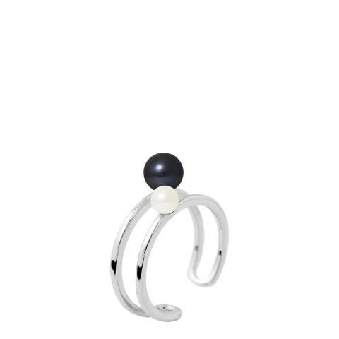 Mitzuko Black/White/Silver Pearl Ring