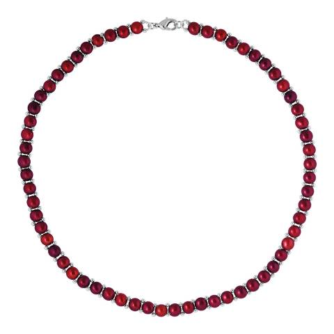 Mitzuko Cherry/Silver Pearl Necklace