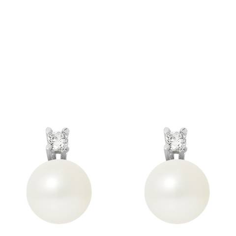 Mitzuko White/Silver Real Cultured Freshwater Pearl Earrings