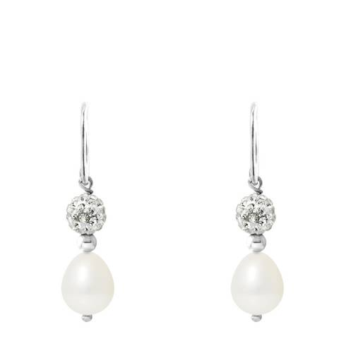 Mitzuko White Pearl And Crystal Earrings