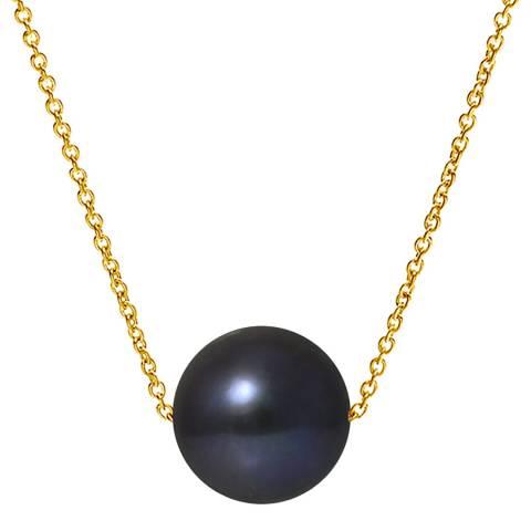 Mitzuko Black/Gold Single Pearl Necklace
