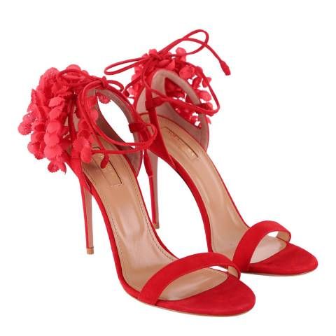Aquazzura Red Suede Lily of the Valley Heeled Sandals