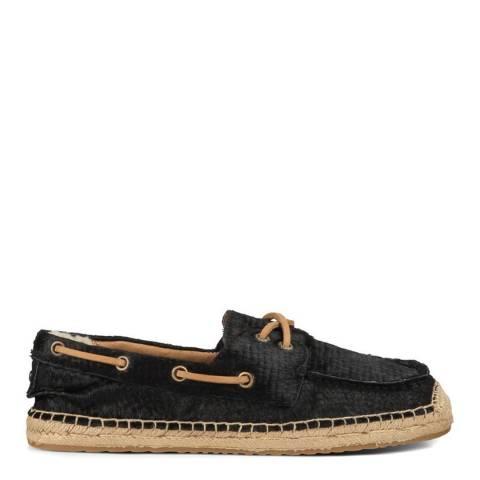 UGG Women's Black Calf Hair Scales Coris Boat Shoes