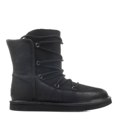 UGG Black Leather / Suede Lodge Lace-Up Boots