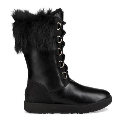 UGG Black Leather Aya Waterproof Boots