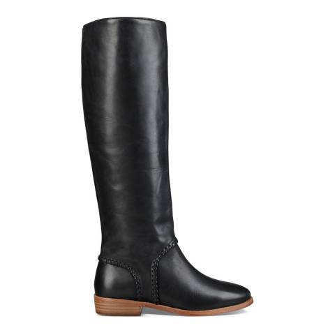 UGG Black Leather Gracen Whipstitch Tall Boots