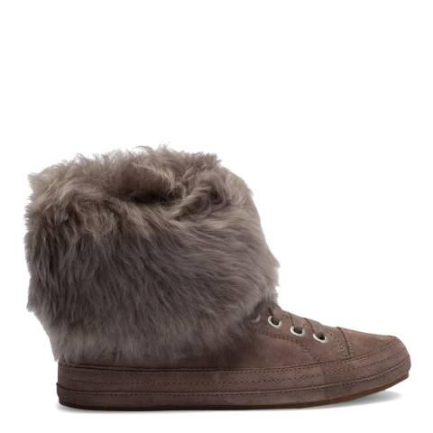 UGG Slate Taupe Suede Antoine Sheepskin Cuff Sneakers