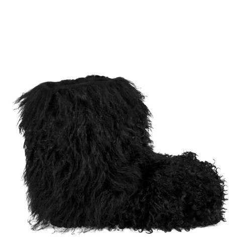 UGG Black Sheepskin Fluff Momma Mongolian Boots