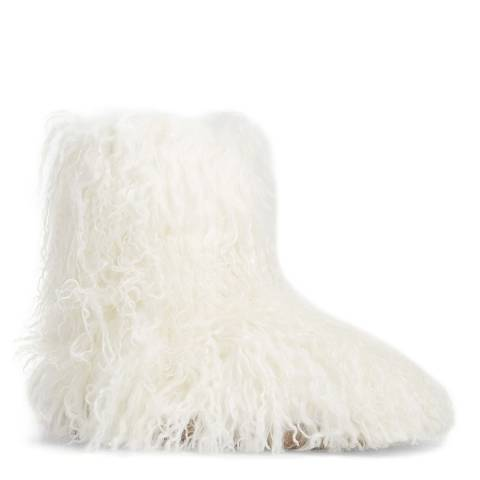 UGG White Sheepskin Fluff Momma Mongolian Boots