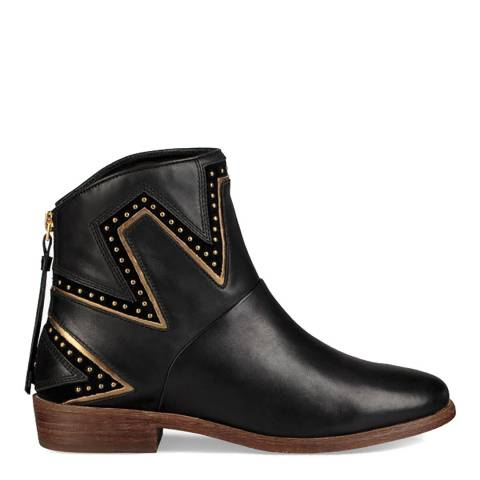 UGG Black Leather Cas Ankle Boots