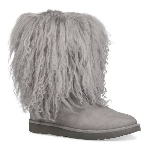 UGG Seal Grey Shaggy Sheepskin Lida Boots