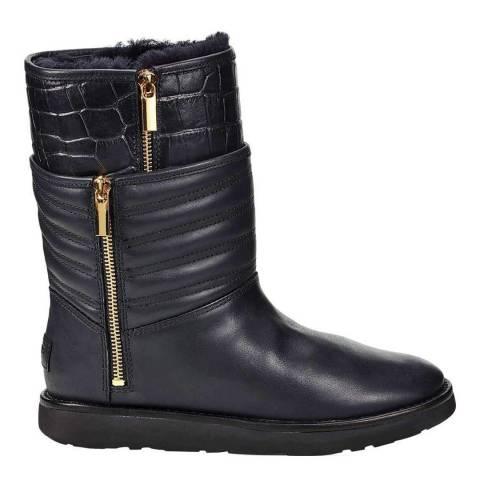 UGG Black Leather Aviva Boots