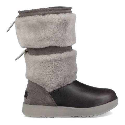 UGG Metal Grey Leather Wool Reykir Boots