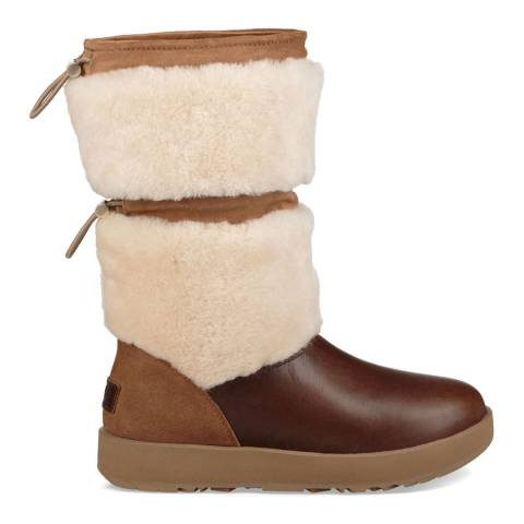 UGG Chestnut Leather Wool Reykir Boots