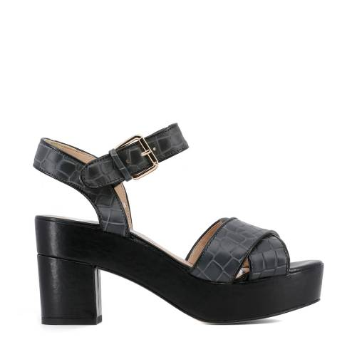 Arnaldo Toscani Black Leather Croc Chunky Platform Sandals