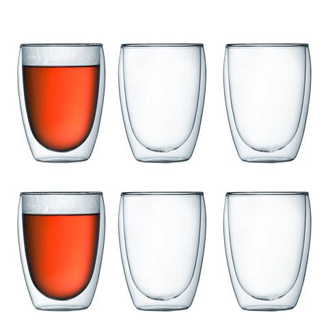 Bodum Set of 6 Double Walled Glasses, 350ml