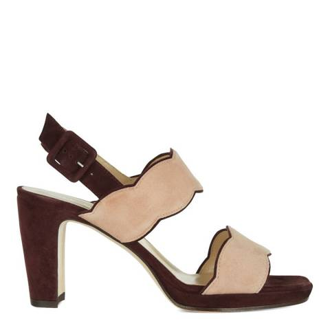 Hobbs London Burgundy Suede Kate Scallop Heeled Sandals