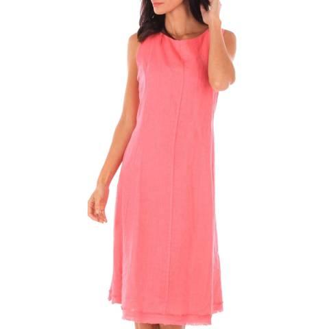 Comptoir Du Lin Pink Midi Linen Dress