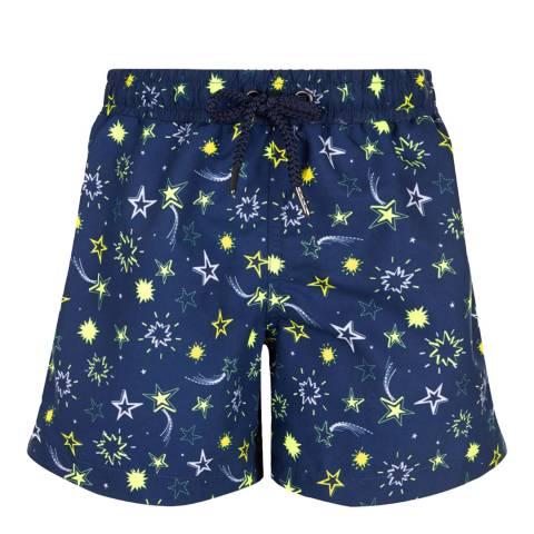 Sunuva Boys Navy Neon Star Swim Short