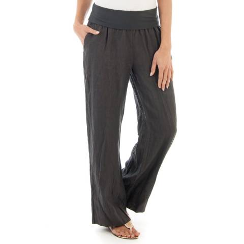 Contemporary Linen by Ouman Charcoal Wide Leg Linen Trousers